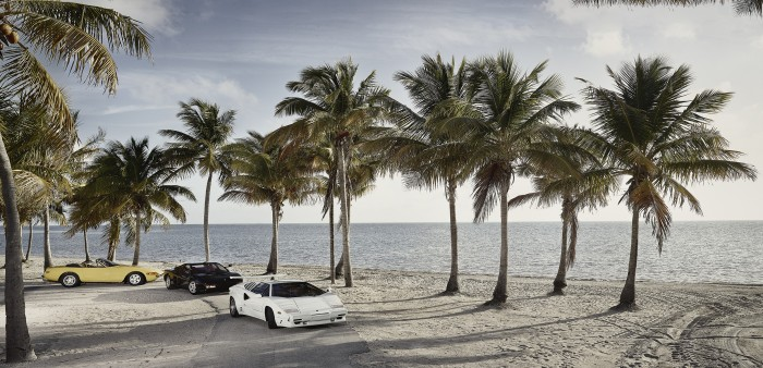 1971 Ferrari Daytona spyder, a a 1986 Ferrari Testarossa and a 1988 Lamborghini Countach, modern super cars which were in the hit 80s television show Miami Vice.  The cars were photographed by Miami Advertising and Magazine photographer Jeffery Salter