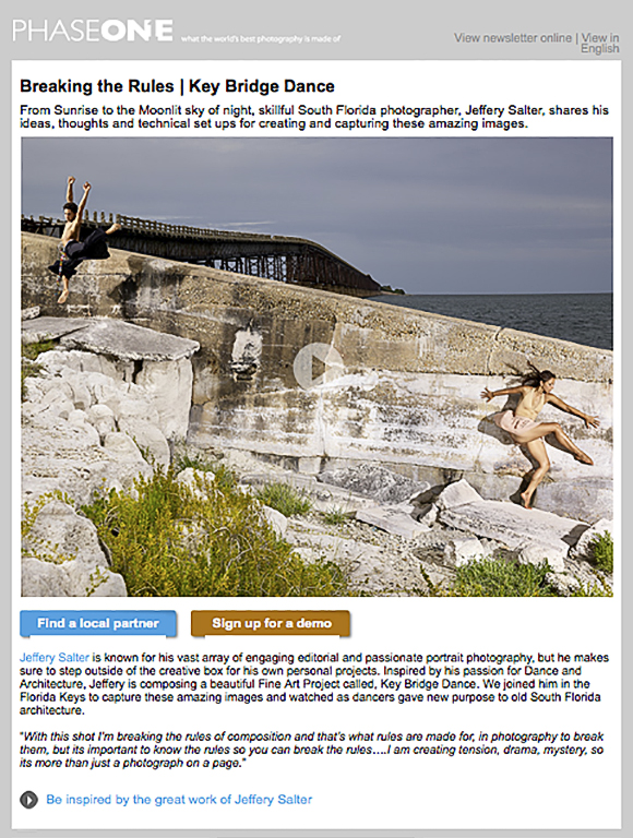 Phase One features Miami photographer Jeffery Salter in a newsletter about his Key Dance project